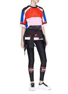 P.E Nation Squad品牌名称拼色网眼布T恤