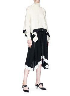 Tome Contrast stitch Merino wool knit handkerchief skirt