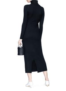 Tome Belted Merino wool rib knit turtleneck dress