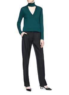 Tome Cutout front Merino wool turtleneck sweater