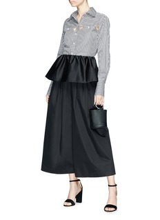 Tome Detachable ruffle overlay cropped wide leg karate pants