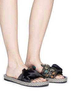 Sam Edelman 'Bodie' satin brocade bow slide sandals