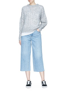 Topshop 'MOTO' frayed cuff wide leg jeans