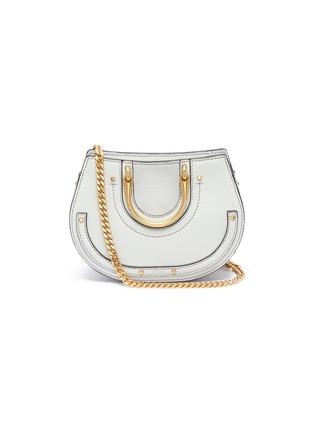 Main View - Click To Enlarge - Chloé - 'Pixie' mini bracelet handle leather crossbody saddle bag