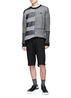 McQ Alexander McQueen Swallow skull appliqué mixed stripe sweater