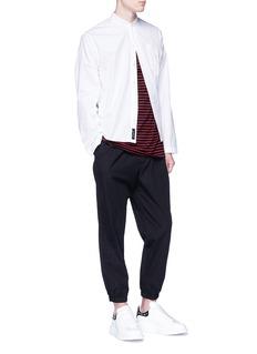 McQ Alexander McQueen Mandarin collar folded twill shirt