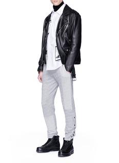 McQ Alexander McQueen Stud cuffs patchwork knit jogging pants