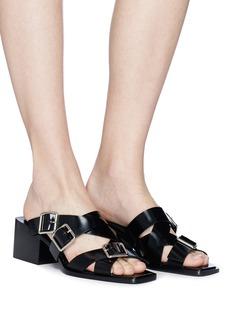 Jil Sander Block heel buckled strap leather sandals