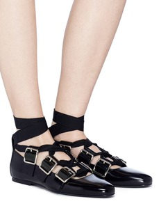 Jil Sander Ankle tie buckled patent leather ballet flats