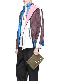 Valentino Logo print canvas zip pouch