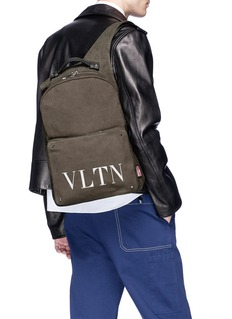 Valentino Logo print canvas backpack