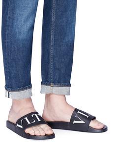 Valentino Logo print slide sandals