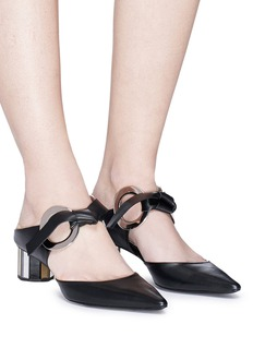 Proenza Schouler Geometric heel ring ribbon tie leather mules