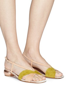 Dries Van Noten Cutout colourblock suede sandals
