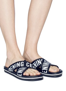 Opening Ceremony 'Berkeley' logo cross strap leather slide sandals