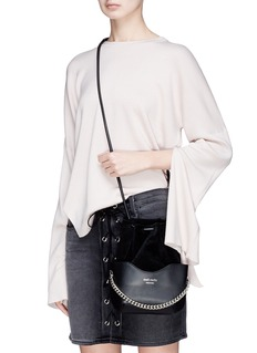 Meli Melo 'Hetty' suede panel leather drawstring crossbody bag