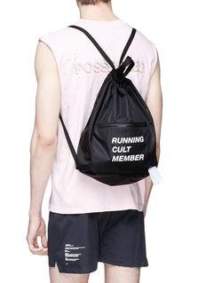 Satisfy 'Running Cult Member' print gym backpack