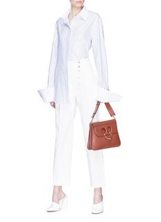 ANNA QUAN 'Bronte' detachable cuff stripe boyfriend shirt