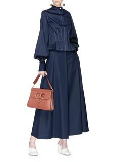 ANNA QUAN 'Ella' bishop sleeve contrast topstiching shirt