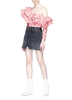 GRLFRND 'Mila' ring embellished denim skirt