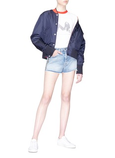 GRLFRND 'Cindy' curb chain frayed cuff denim shorts