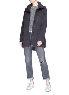 James Perse Retractable hood cotton-linen utility jacket