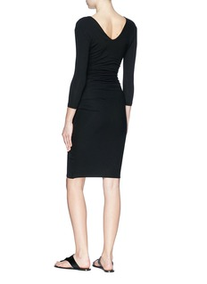 James Perse Ruched jersey mock wrap dress