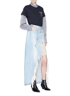 R13 'Harrow' distressed asymmetric denim skirt
