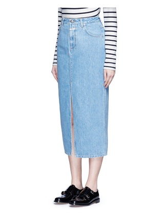 Front View - Click To Enlarge - Closed - 'Clara' front slit denim skirt