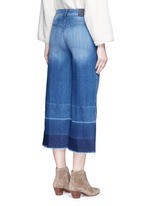 'Niki' frayed ombré cuff cropped flare denim pants