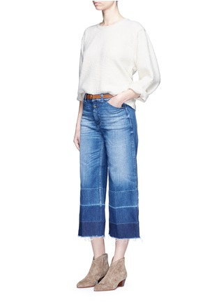 Figure View - Click To Enlarge - Closed - 'Niki' frayed ombré cuff cropped flare denim pants