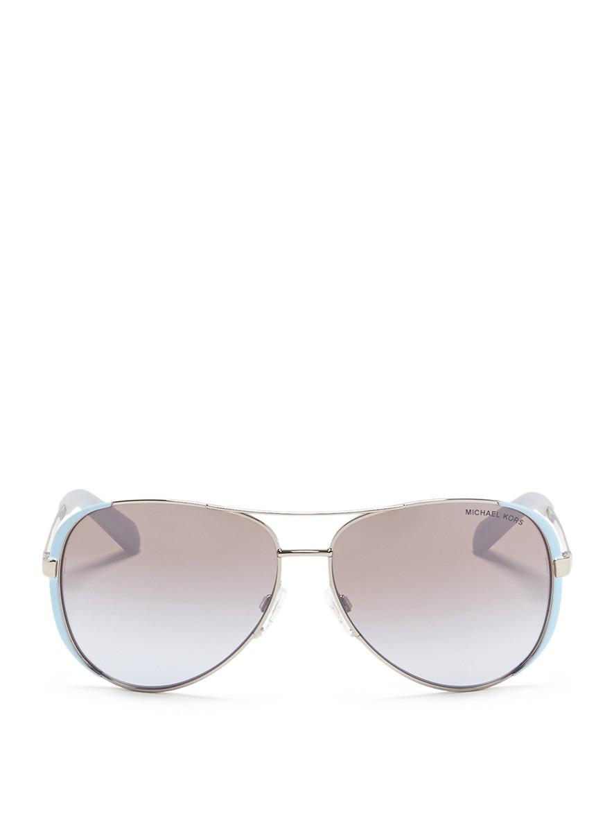 michael kors female chelsea coated rim metal aviator sunglasses