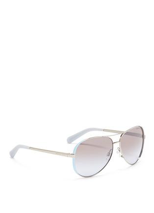 Figure View - Click To Enlarge - Michael Kors - 'Chelsea' coated rim metal aviator sunglasses