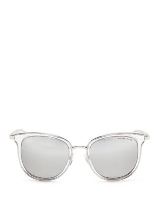 Main View - Click To Enlarge - Michael Kors - 'Adrianna I' inset acetate rim metal mirror sunglasses