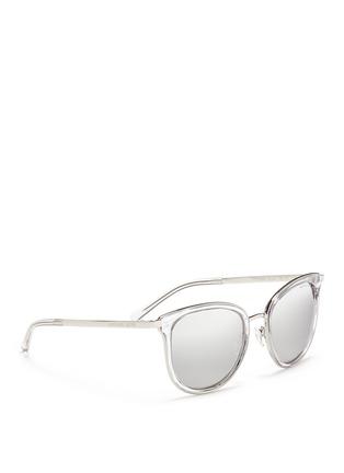 Figure View - Click To Enlarge - Michael Kors - 'Adrianna I' inset acetate rim metal mirror sunglasses