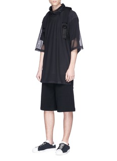 Y-3 可收纳式兜帽透视网纱T恤