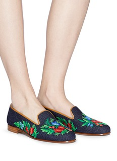 Stubbs & Wootton 'Hippie' floral embroidered denim slip-ons