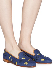 Stubbs & Wootton 'Go Bananas' embroidered basketweave slip-ons