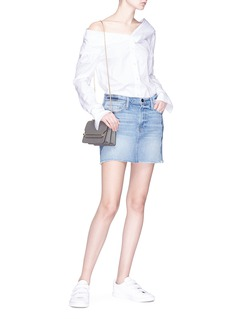 Frame Denim 'Le Mini' raw hem panelled denim skirt