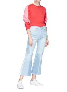 Frame Denim 'Le Panel Block' raw cuff patchwork flared jeans
