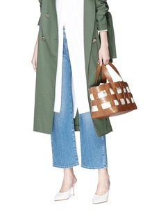 Trademark 'Fern' caged leather canvas bag