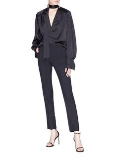 Lanvin Satin trim wool suiting pants