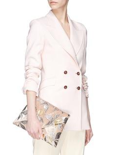 Dries Van Noten Floral embroidered velvet envelope clutch