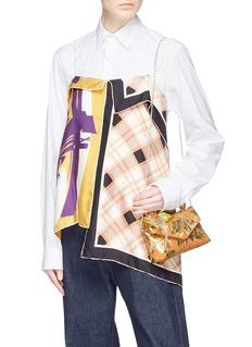 Dries Van Noten Jewelled fringe mini floral jacquard bag