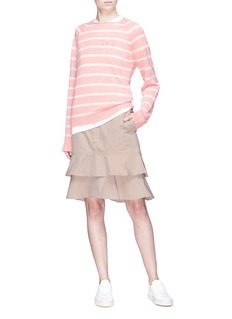 bassike Tiered ruffle hem twill workwear skirt