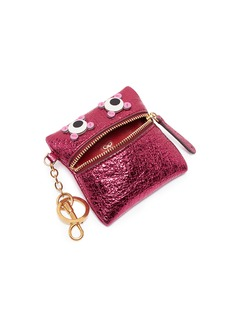 Anya Hindmarch 'Circulus' eyes crinkled metallic leather coin purse
