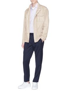Boglioli Cotton-linen herringbone safari jacket