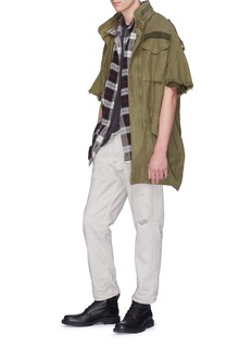 R13 Cut-off sleeve oversized canvas M-65 field jacket