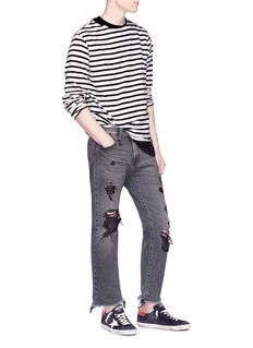 R13 Distressed stripe long sleeve T-shirt