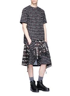SACAI Vector标语印花系带纯棉短裤